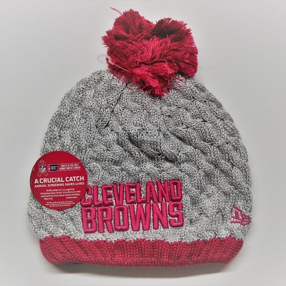 New Era NFL Browns Pink Breast Cancer Knit Hat 365150f8c